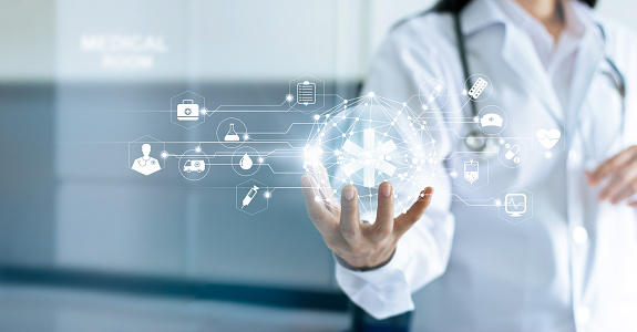 Technology Innovation and medicine concept. Doctor and medical network connection with modern virtual screen interface in hand on hospital background 914789708