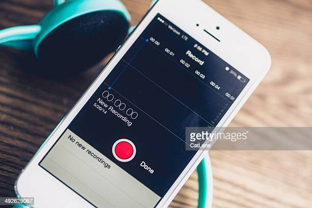 technology: iphone5 showing voice recording screen - sound recording equipment stock pictures, royalty-free photos & images
