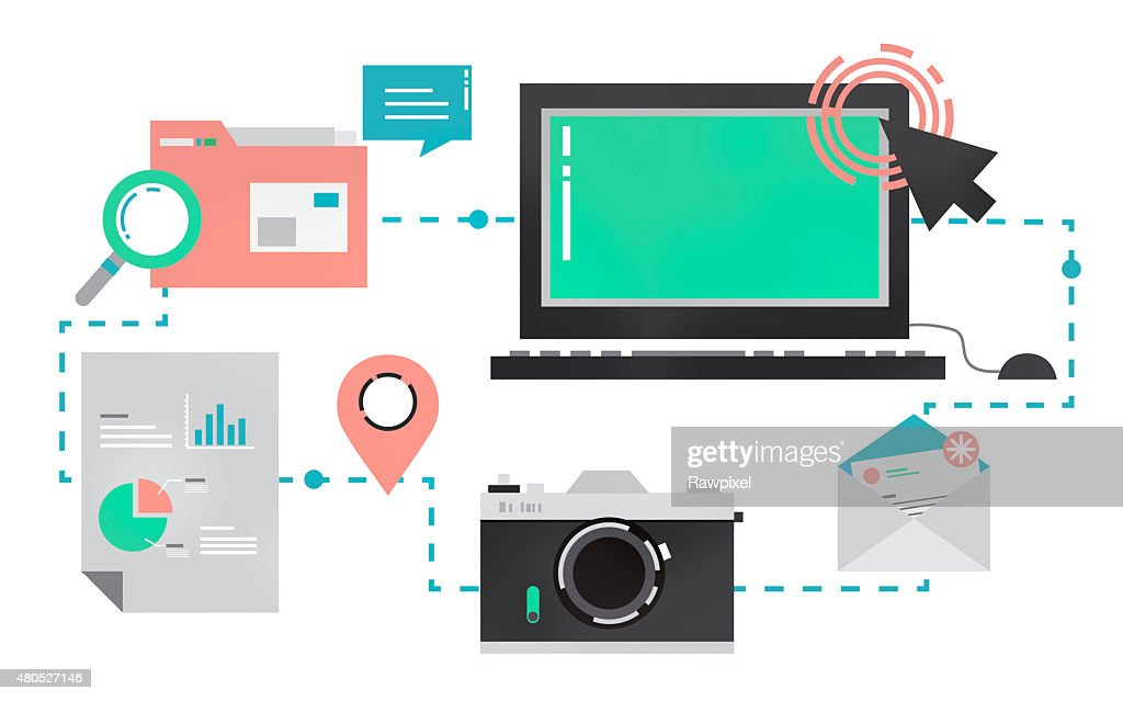 Technology Media Social Network Connection Concept : Stock Photo