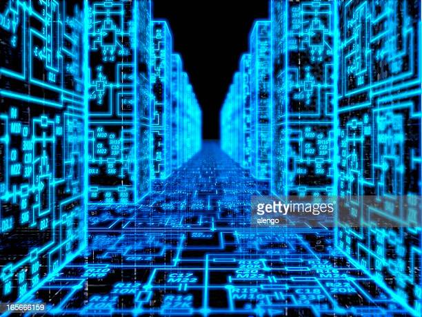 Technology memory database abstract background