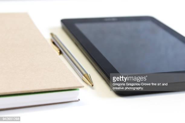 technology - notepad, pen, tablet - gregoria gregoriou crowe fine art and creative photography. bildbanksfoton och bilder