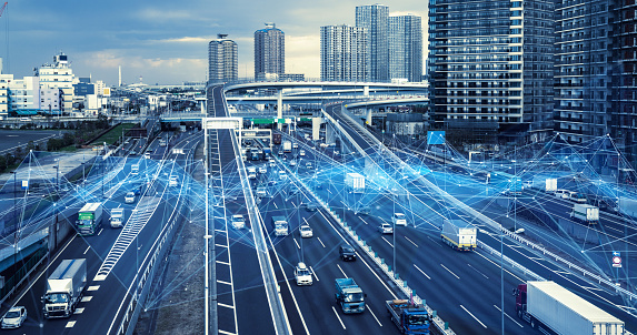 Technology of transportation concept. Traffic control systems. Internet of Things. Mobility as a service. 1140961203