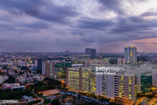 technology park during sunset, bangalore, india - bangalore stock pictures, royalty-free photos & images