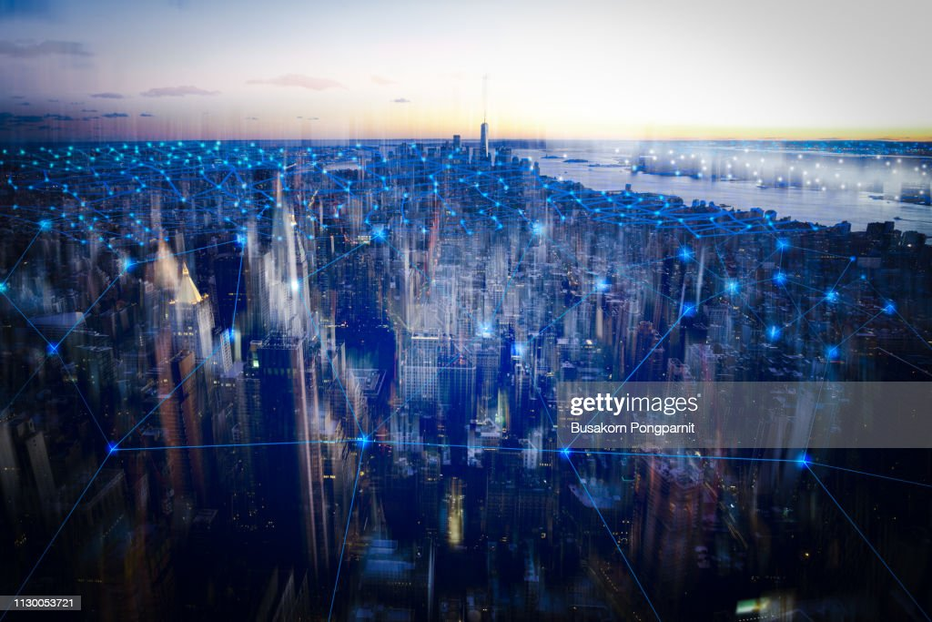technology smart city with network communication internet of thing.  Internet concept of global business in New york, USA. : Stock Photo