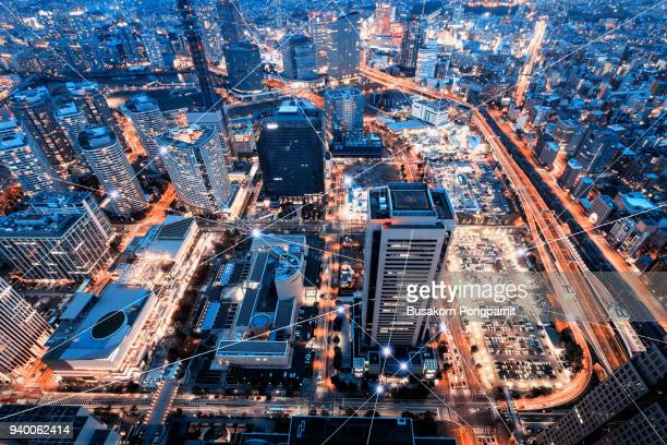 technology smart city with network communication internet of thing - computer network stock pictures, royalty-free photos & images