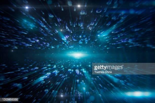 technology space and binary data - inviare foto e immagini stock