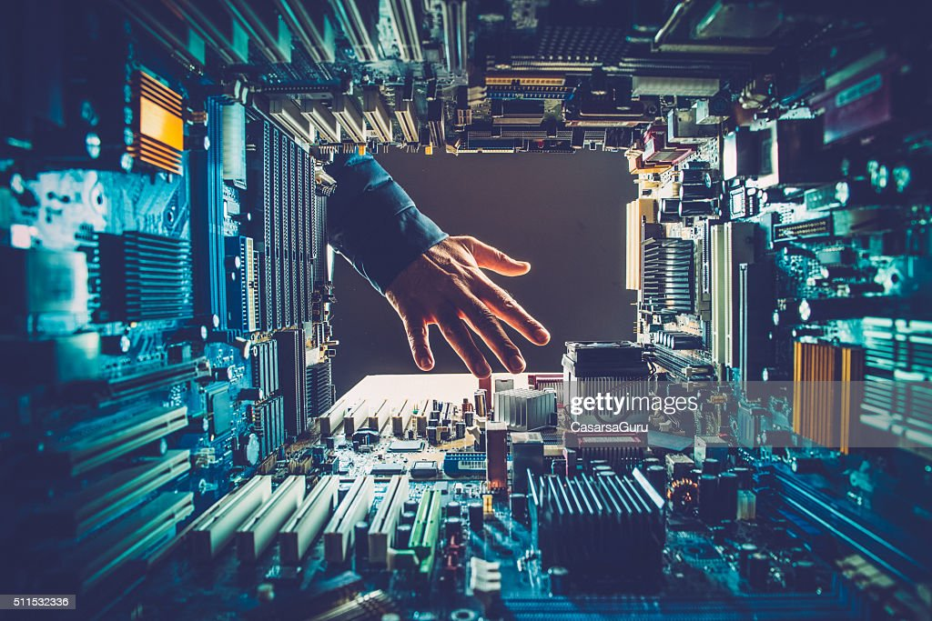 Technology Versus Man : Stock Photo