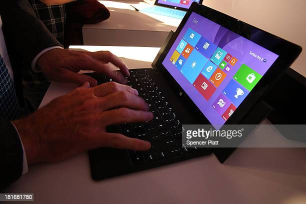 Technology writers tryout the new lineup of second generation Surface tablets on September 23 2013 in New York CityThe new Surface family includes...
