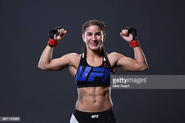 Tecia Torres poses for a backstage portrait during the UFC 194 event inside MGM Grand Garden Arena on December 12 2015 in Las Vegas Nevada