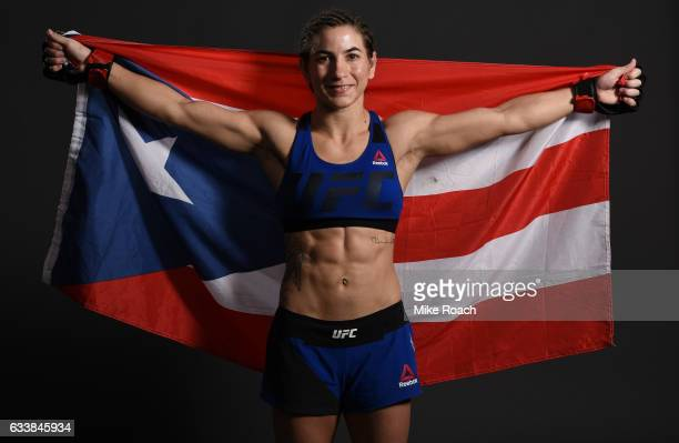 Tecia Torres poses for a picture backstage during the UFC Fight Night event at the Toyota Center on February 4 2017 in Houston Texas