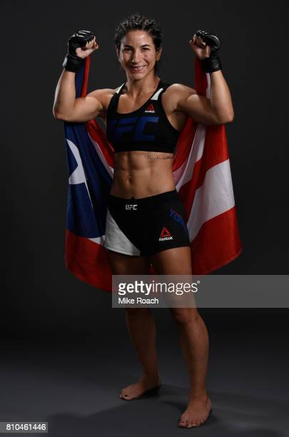 Tecia Torres poses for a portrait backstage after her victory over Juliana Lima during The Ultimate Fighter Finale at TMobile Arena on July 7 2017 in...
