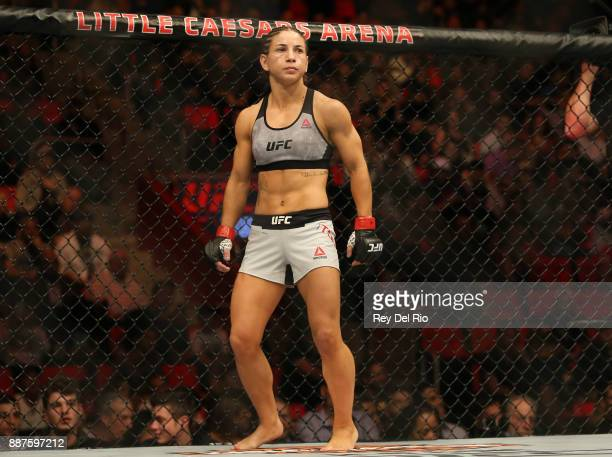 Tecia Torres stands in the Octagon prior to her bout against Michelle Waterson during the UFC 218 event at Little Caesars Arena on December 2 2017 in...
