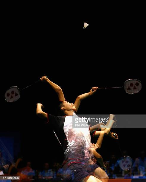Teck Han Tan of Malaysia plas a return during his qualifcation match against Eric Li of New Zealand during the 2015 Badminton Open at the North Shore...