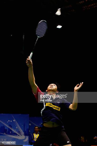 Teck Han Tan of Malaysia plays a forehand during his qualifcation match against Eric Li of New Zealand during the 2015 Badminton Open at the North...