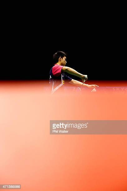 Teck Han Tan of Malaysia serves during his qualifcation match against Eric Li of New Zealand during the 2015 Badminton Open at the North Shore Events...