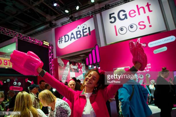 5G tecnology advertisement at Deutsche Telekom boot during the international electronics and innovation fair IFA in Berlin on September 10 2019