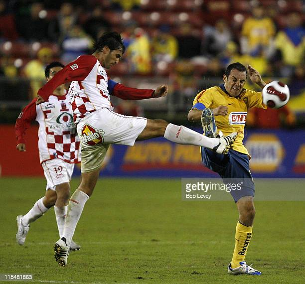 UAG Tecos Juan Leano gets his boot up into the face of America's Cuauhtemoc Blanco during InterLiga 2007 action between America and UAG TECOS Jan 4...