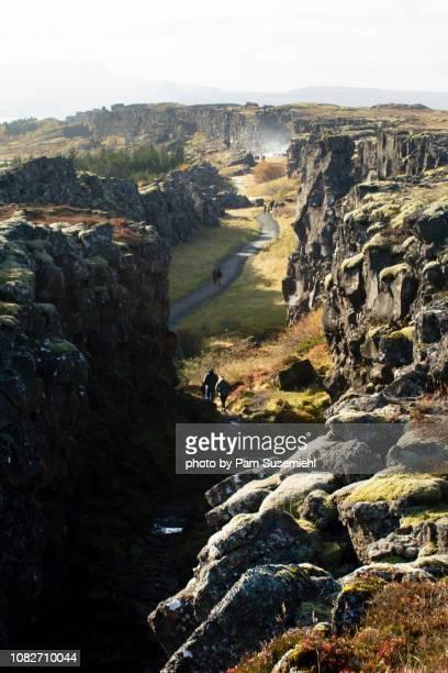 tectonic plate rift, þingvellir national park, iceland - thingvellir stock photos and pictures