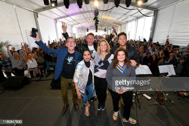 Ted Allen Maneet Chauhan Marc Murphy Amanda Freitag Scott Conant and Alex Guarnaschelli pose onstage during Sunday Brunch hosted by Marc Murphy and...