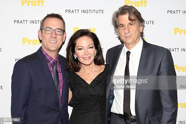 Ted Allen, Margaret Russell, and David Rockwell attend Annual Pratt Institute gala at Mandarin Oriental Hotel on November 11, 2013 in New York City.