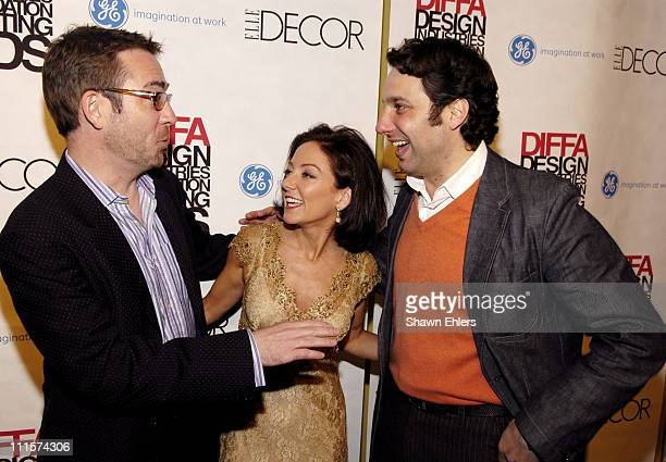Ted Allen, Margaret Russell and Thom Filicia during The 8th Annual Elle Decor Dining by Design Benefiting the Design Industries Foundation Fighting...