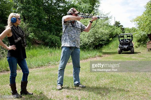 Ted and his wife Shemane Nugent shoot guns on their 1200 acre ranch in Concord Michigan on June 6 2013 Ted said when he was younger he spent his...