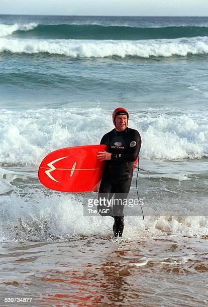 Ted Bainbridge rides the waves at Gunamatta. 15 July 1999 THE AGE DOMAIN Picture by ANDREW DE LA RUE
