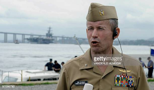 Ted Branch Carrier Strike Group One of the USS Carl Vinson Nimitz class aircraft supercarrier speaks with the press after arriving at Guanabara Bay...