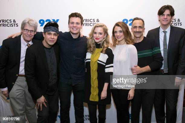 Ted Chapin George Salazar Jonathan Groff Stephanie Styles Elena Shaddow David Pittu and Alex Timbers pose for photos after 'The Bobby Darin Story'...