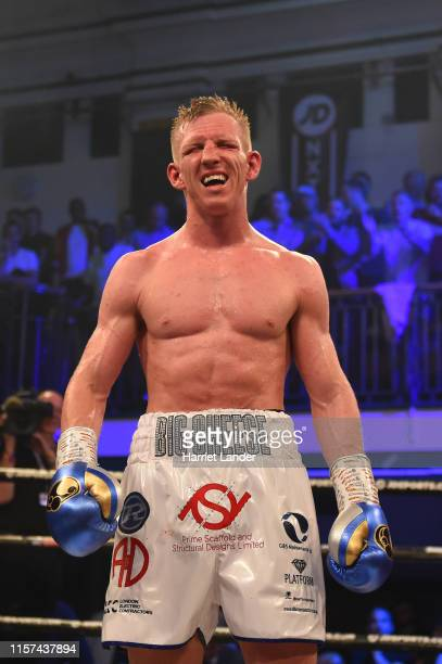 Ted Cheeseman reacts after the British SuperWelterweight Championship fight between Ted Cheeseman and Kieron Conway at York Hall on June 21 2019 in...
