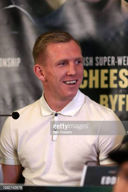 Ted Cheeseman reacts during a press conference with boxing promoter Eddie Hearn at The Courthouse Hotel on September 13 2018 in London England