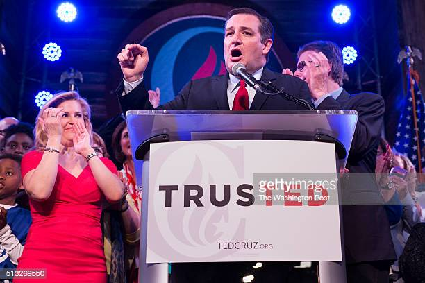 Ted Cruz holds his victory rally at the Redneck Country Club in Stafford Texas On the left is his wife Heidi and on the right is the Lt Governor of...