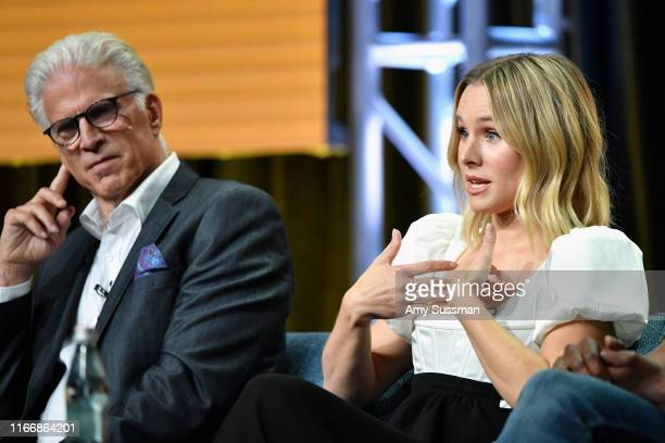 Ted Danson and Kristen Bell of 'The Good Place' speak during the NBC segment of the 2019 Summer TCA Press Tour at The Beverly Hilton Hotel on August...