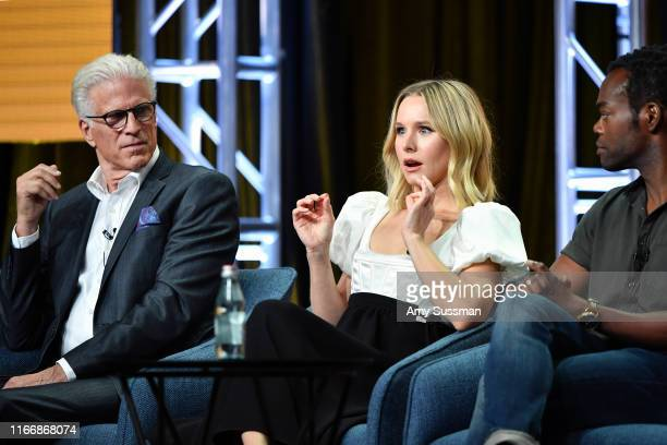 Ted Danson Kristen Bell and William Jackson Harper of 'The Good Place' speak during the NBC segment of the 2019 Summer TCA Press Tour at The Beverly...