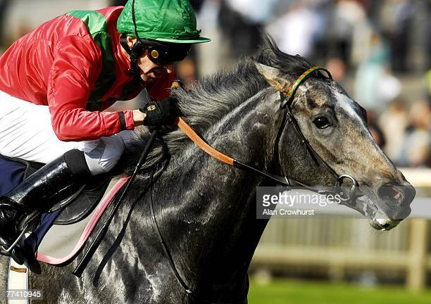 Ted Durcan riding Kandahar Run win The Peter Stone Memorial Houghton Conditions Stakes at Newmarket Racecourse on October 19 2007 in Newmarket...