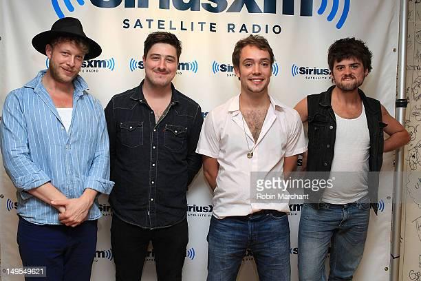 Ted Dwane, Marcus Mumford, Ben Lovett and Winston Marshall of Mumford & Sons visit the Spectrum at SiriusXM Studio on July 30, 2012 in New York City.
