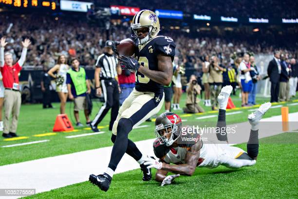 Ted Ginn Jr #19 of the New Orleans Saints catches a pass for a touchdown over Carlton Davis III of the Tampa Bay Buccaneers at MercedesBenz Superdome...