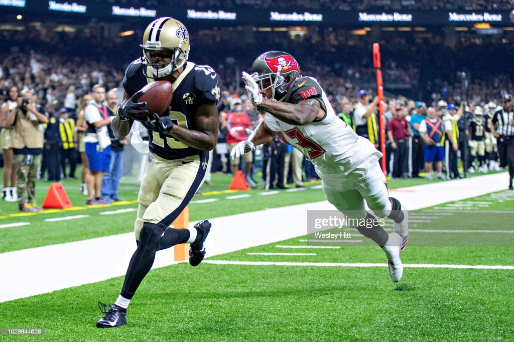 Ted Ginn Jr. #19 of the New Orleans Saints catches a touchdown pass over Carlton Davis III #33 of the Tampa Bay Buccaneers at Mercedes-Benz Superdome on September 9, 2018 in New Orleans, Louisiana.
