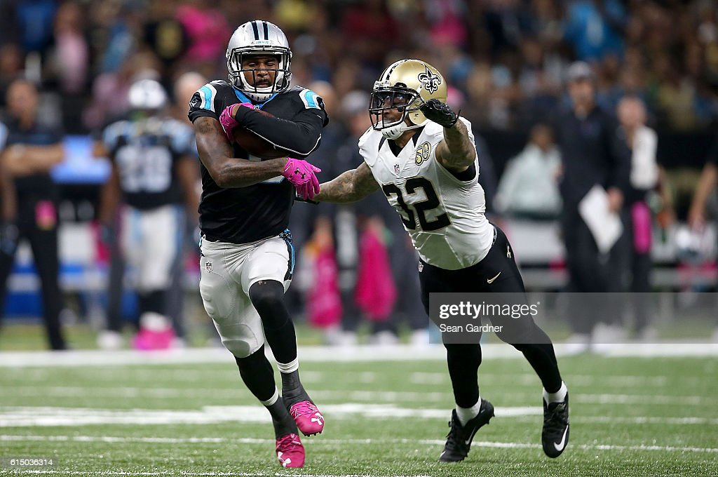 Ted Ginn #19 of the Carolina Panthers is tackled by Kenny Vaccaro #32 of the New Orleans Saints during the second quarter at the Mercedes-Benz Superdome on October 16, 2016 in New Orleans, Louisiana.
