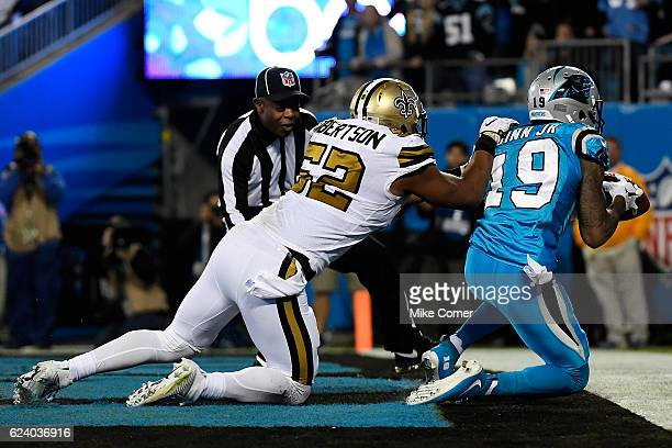 Ted Ginn of the Carolina Panthers makes a touchdown reception against the New Orleans Saints at Bank of America Stadium on November 17 2016 in...