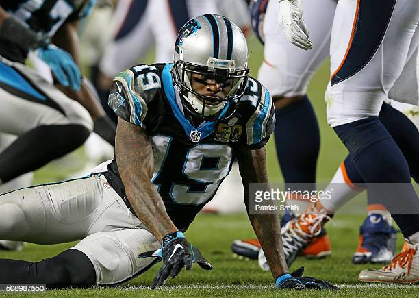 Ted Ginn of the Carolina Panthers reacts after a play against the Denver Broncos in the third quarter during Super Bowl 50 at Levi's Stadium on...