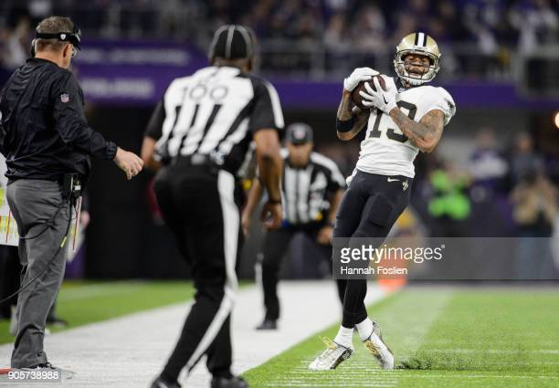Ted Ginn of the New Orleans Saints catches the ball against the Minnesota Vikings during the first half of the NFC Divisional Playoff game on January...