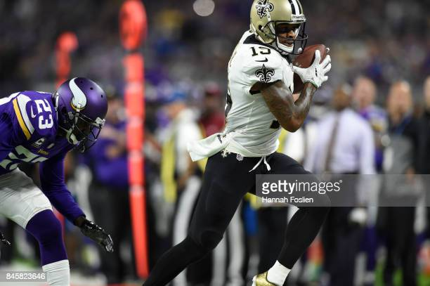 Ted Ginn of the New Orleans Saints catches the ball in the second half of the game against the Minnesota Vikings on September 11 2017 at US Bank...