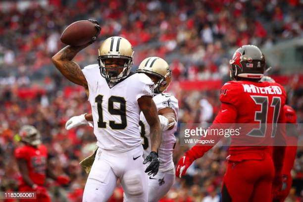 Ted Ginn of the New Orleans Saints celebrates a touchdown during the third quarter of the game against the Tampa Bay Buccaneers on November 17, 2019...