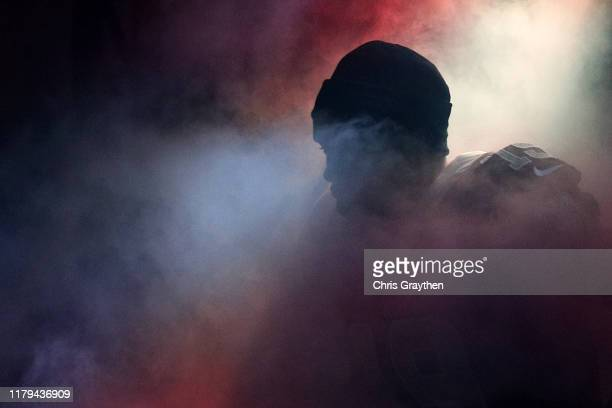 Ted Ginn of the New Orleans Saints is introduced prior to the game against the Tampa Bay Buccaneers at Mercedes Benz Superdome on October 06, 2019 in...