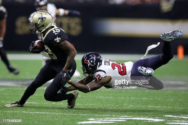 Ted Ginn of the New Orleans Saints is tackled by Aaron Colvin of the Houston Texans at Mercedes Benz Superdome on September 09 2019 in New Orleans...