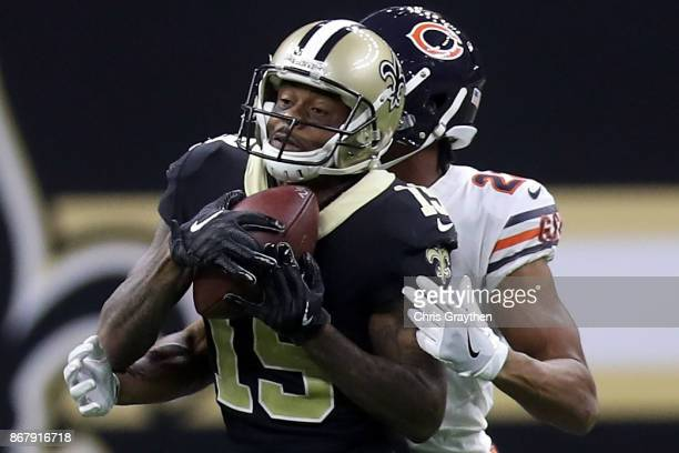 Ted Ginn of the New Orleans Saints is tackled by Kyle Fuller of the Chicago Bears at the MercedesBenz Superdome on October 29 2017 in New Orleans...
