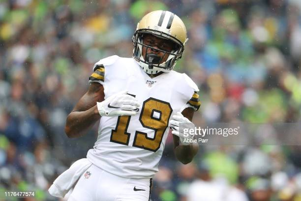 Ted Ginn of the New Orleans Saints looks on against the Seattle Seahawks in the second quarter during their game at CenturyLink Field on September...