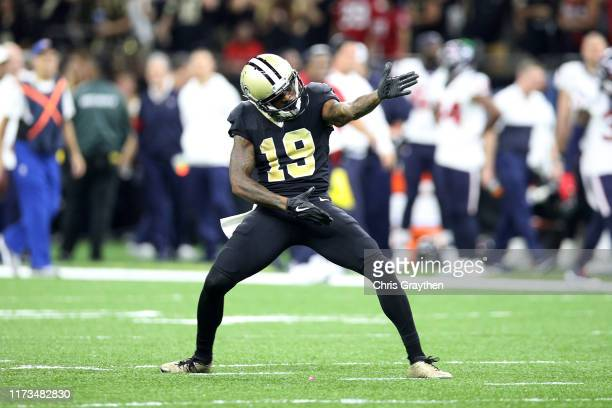 Ted Ginn of the New Orleans Saints reacts after a first down against the Houston Texans at Mercedes Benz Superdome on September 09, 2019 in New...
