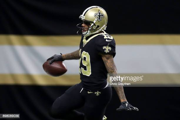 Ted Ginn of the New Orleans Saints reacts after scoring a touchdown against the Atlanta Falcons at MercedesBenz Superdome on December 24 2017 in New...